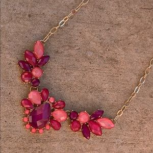 • pink and purple statement necklace •